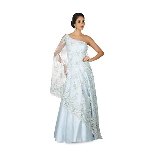 Ice blue gown in one shoulder neckline with embroidered net only on Kalki