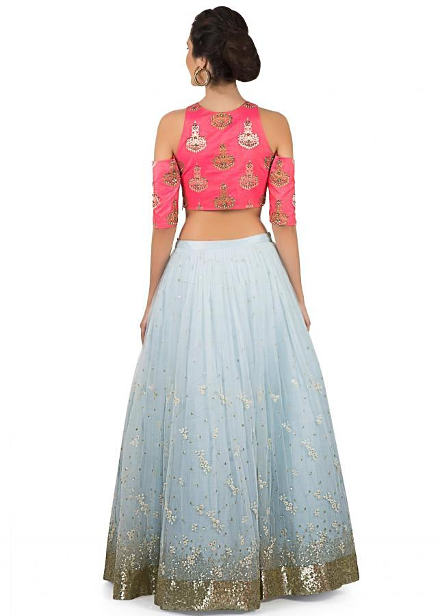 Ice blue lehenga with hot pink crop top in sequin and thread work only on Kalki