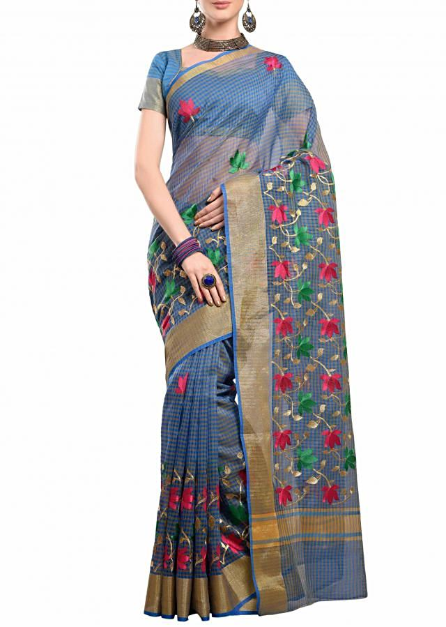 ice blue saree embellished in resham embroidery