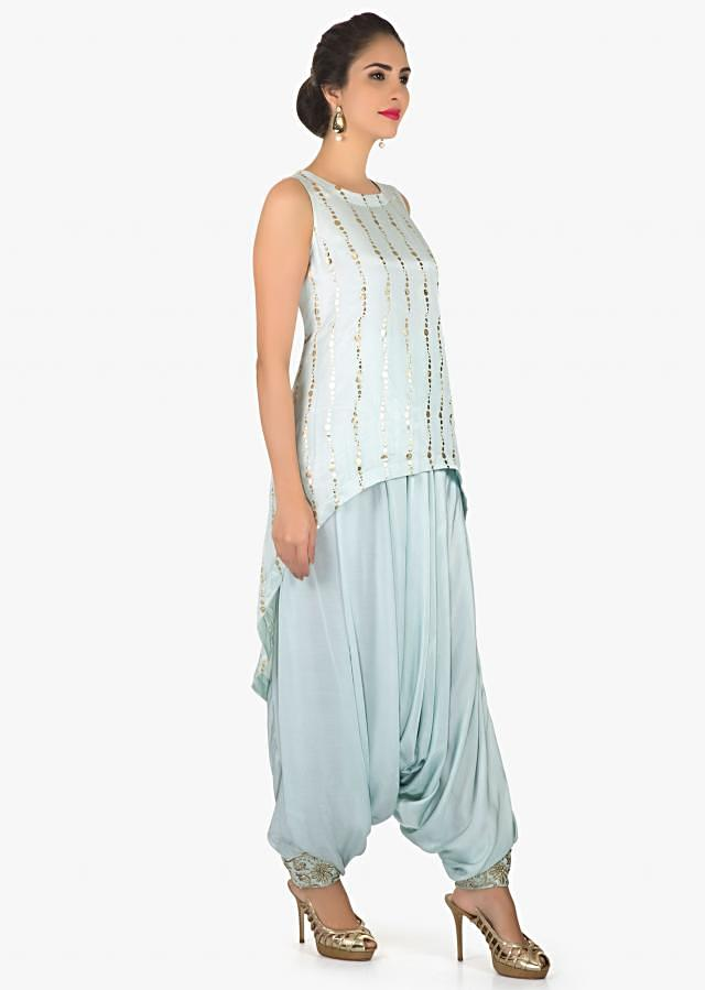 Ice blue top in front short and back long with foil print only on Kalki