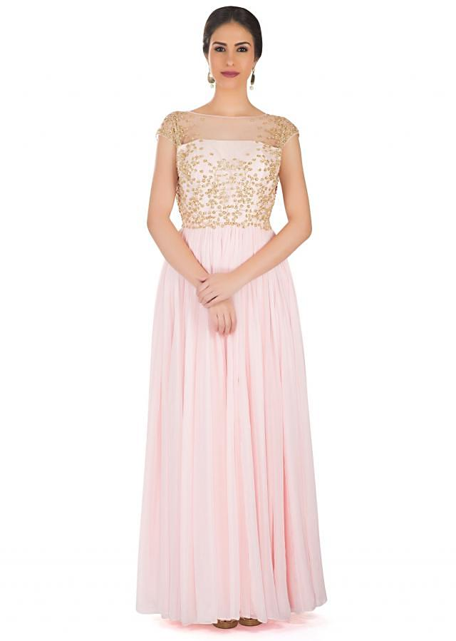 Ice Pink Georgette Gown with Embellished Bodice Featuring Sequins and Cut Dana only on Kalki