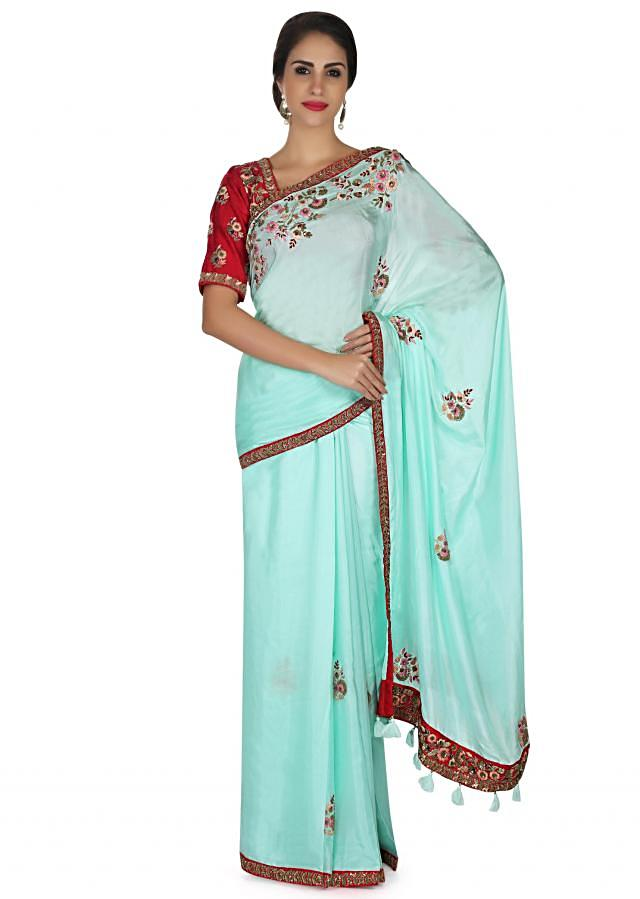 Ice Pink Saree In Satin With Resham Embroidered Butti And Border Online - Kalki Fashion