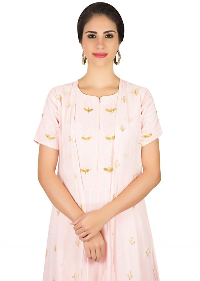 Ice pink suit matched with jacket in resham and cut dana butti only on Kalki