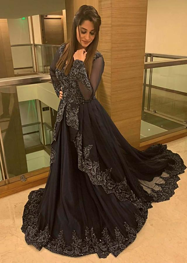 Dipika Kakar in Kalki navy blue ballroom gown with center frills and pleats
