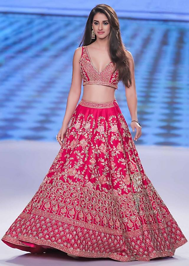 Disha Patani in Kalki mesmerising pink raw silk lehenga set in multi color resham, ari and zardosi embroidery