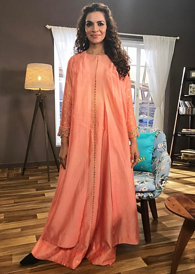 Shweta Kawatra in Kalki peach suit with embroidered sleeve