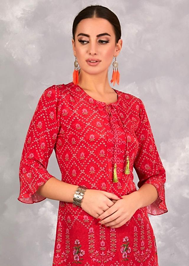 Imperial Red Short Kurti In Crepe With Bandhani Printed Checks And Floral Motifs Online - Kalki Fashion