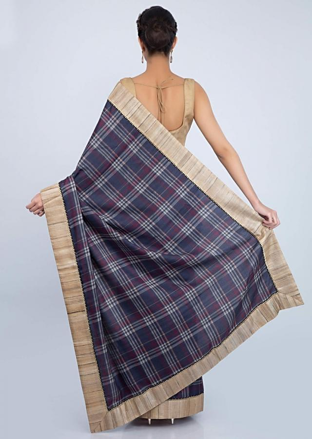 Indigo Blue Checks Saree In Cotton With Beige Tussar Silk Border Online - Kalki Fashion