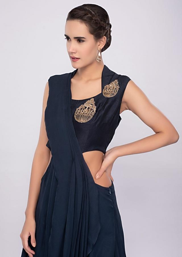 Indigo blue gown with side cut out and flair at the back only on Kalki