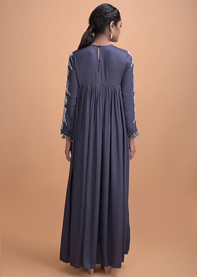 Indigo Blue Long Kurti With A Flared Silhouette And Thread Work Online - Kalki Fashion