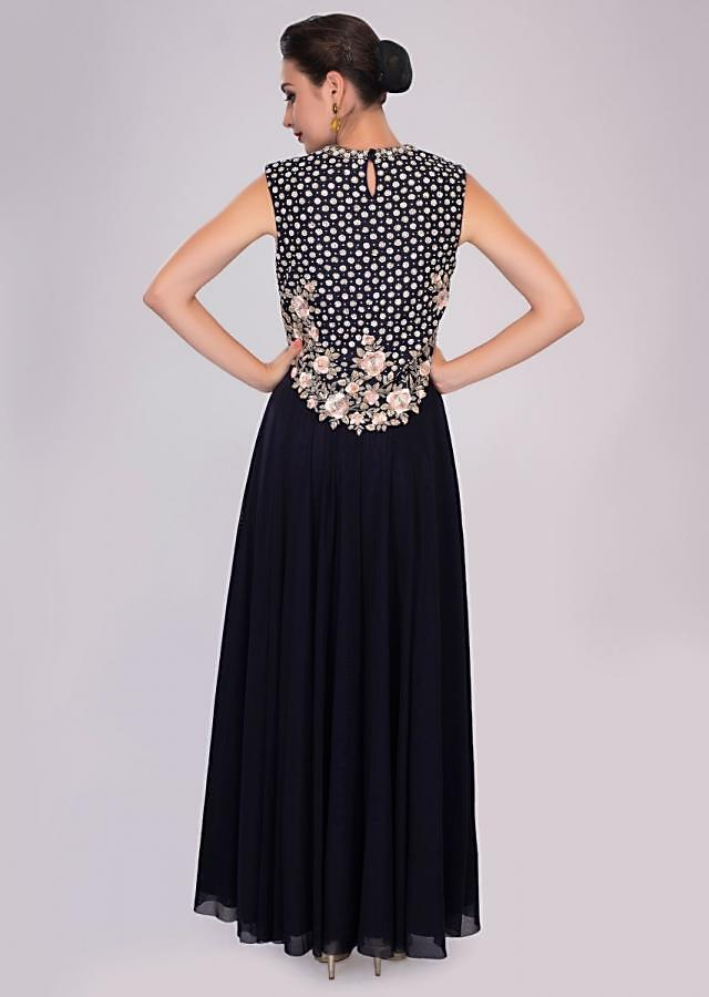 Indigo Blue Gown In Lycra And Net With Embroidered Raw Silk Bodice Online - Kalki Fashion