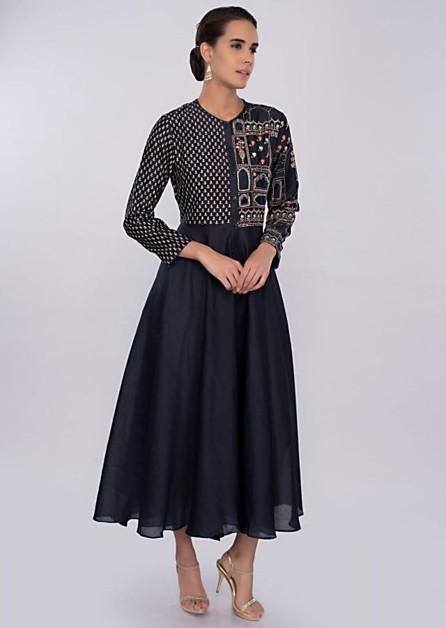 Indigo blue silk kurti with print and embroidered bodice only on kalki
