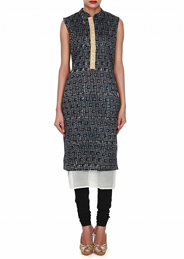 Indigo kurti featuring in embellished placket only on Kalki