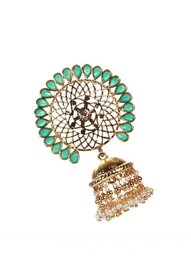 Indo-Western Gold Jhumki With Emerald And Pearl Hanging only on Kalki