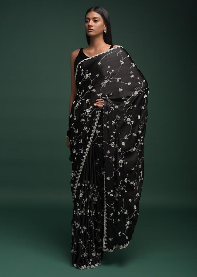 Ink Black Saree In Chinon With Stones, Pearls And Cut Dana Embellished Floral Jaal Online - Kalki Fashion