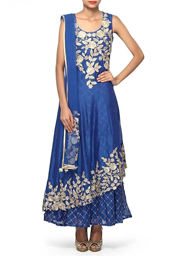 Ink blue suit adorn in zari and sequin embroidery only on Kalki