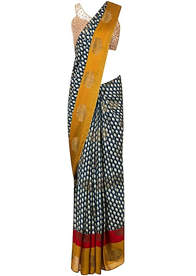 Ink blue printed saree in satin with contrast border only on Kalki