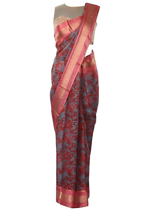 Ink blue saree in silk with floral jaal print only on Kalki