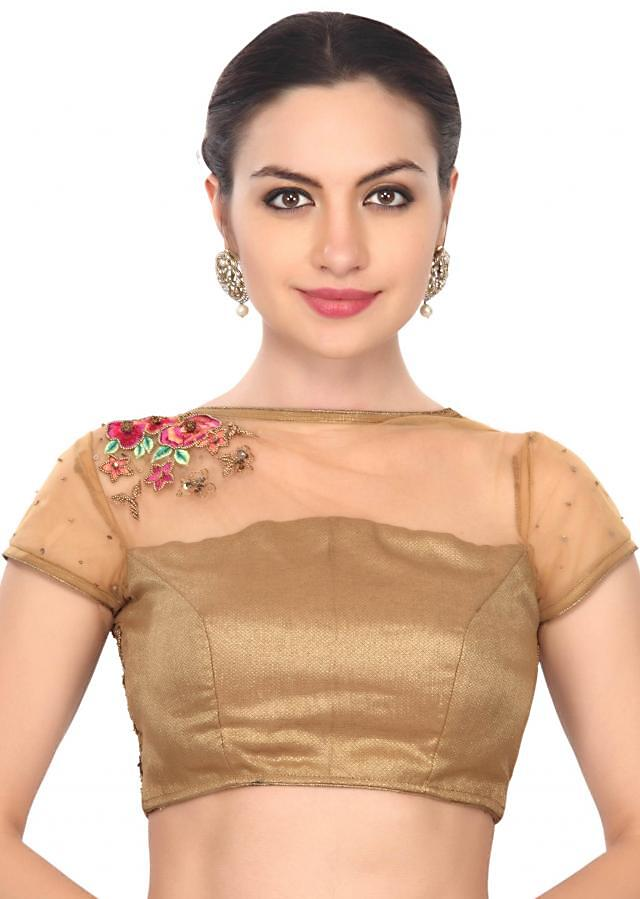 Intricate hand work gold and pink floral blouse only on Kalki