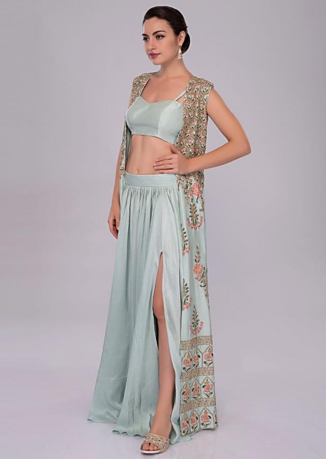 Irish mint heavy dupion skirt and bustier with long embroidered jacket only on Kalki