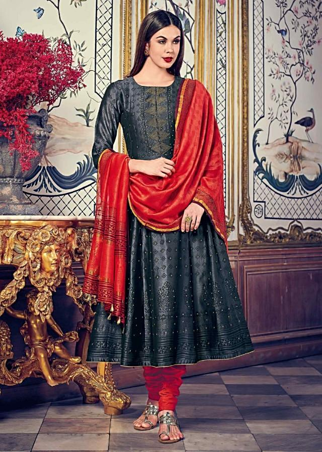 Iron Grey Anarkali Suit In Self Print And Zari Embroidery Matched With Rust Dupatta Online - Kalki Fashion