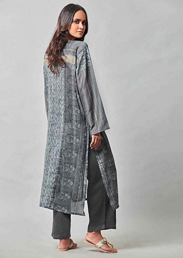 Iron Grey Suit In Cotton With Straight Cut Pants Online - Kalki Fashion