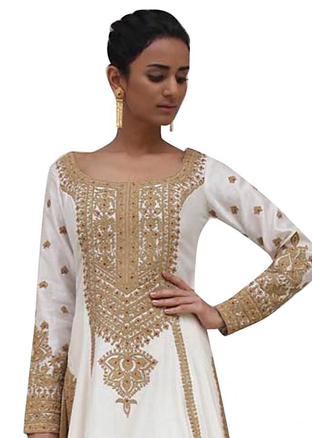 Ivory A line embroidered suit matched with silk pants