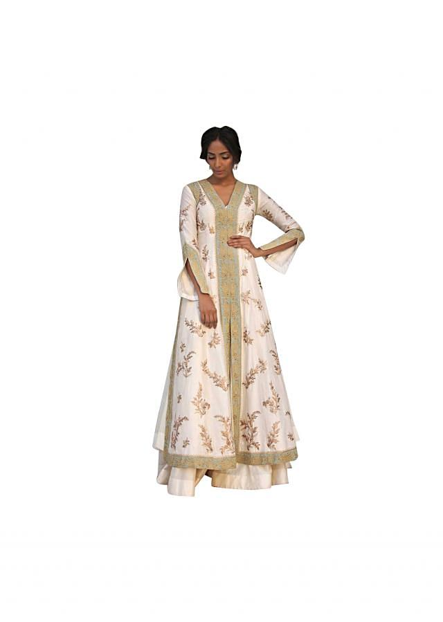 Ivory A line suit matched with silk sharara