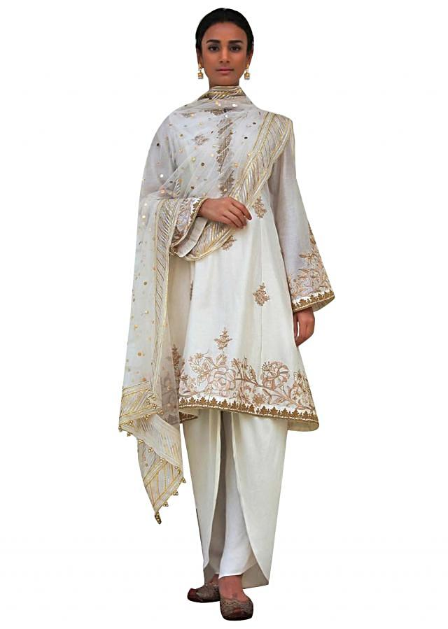 Ivory A line suit with silk dhoti pants