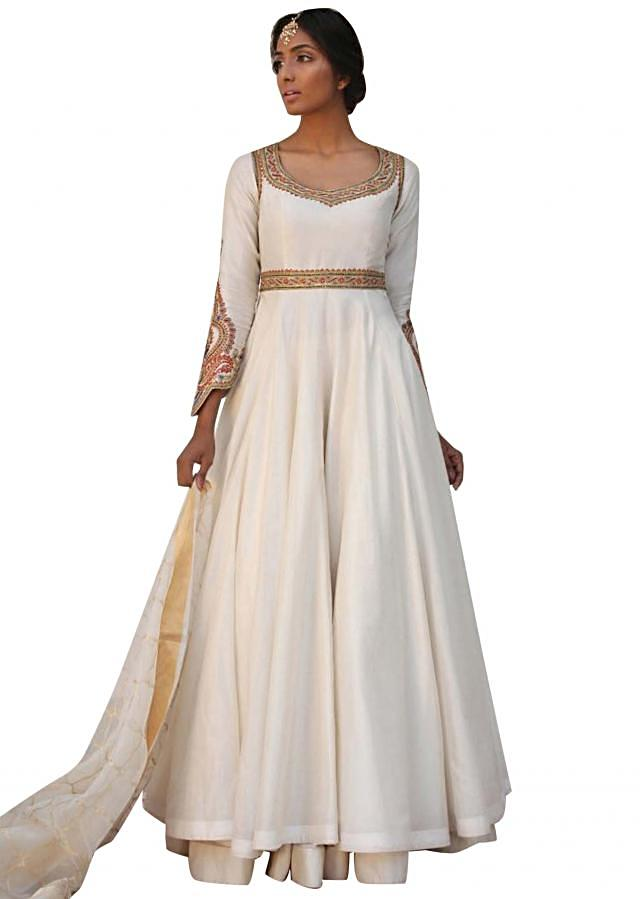 Ivory anarkali suit in resham and zardosi embroidery