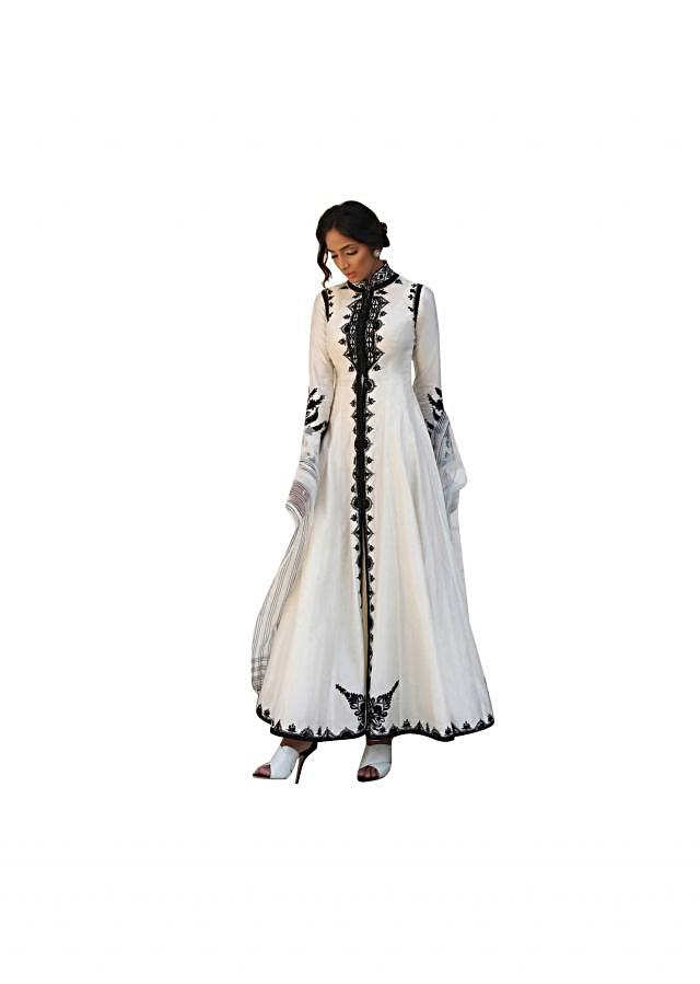 Ivory anarkali suit in resham embroidery