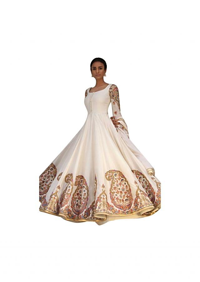 Ivory anarkali suit in paisley motif embroidery
