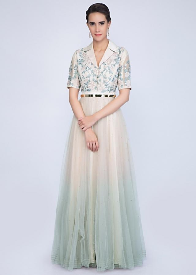 Ivory And Green Anarkali Dress With Shaded Effect And Floral Resham Embroidery Online - Kalki Fashion