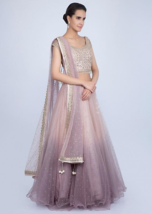 Ivory Beige And Lilac Lehenga In Shaded Net With Matching Embroidered Blouse Online - Kalki Fashion