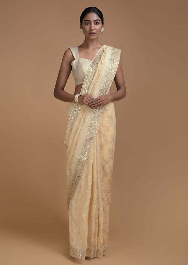 Ivory Beige Banarasi Saree With Weaved Floral Jaal And Gotta Embroidery Online - Kalki Fashion