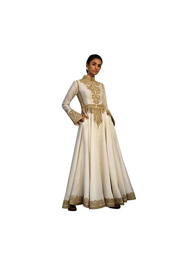 Ivory chanderi anarkali suit in dori embroidery