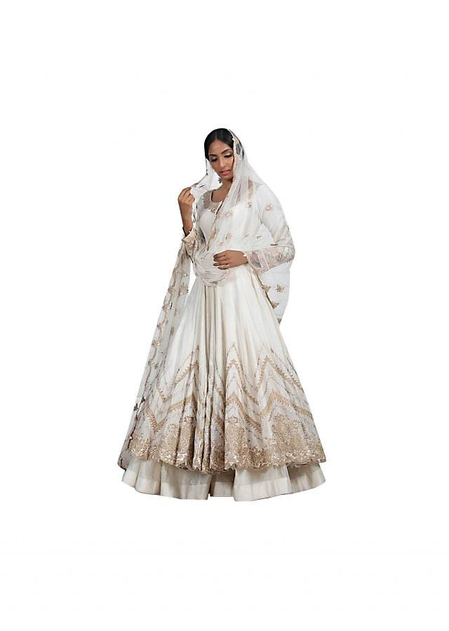Ivory chanderi suit in gotta embroidery only on Kalki