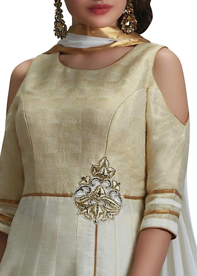 Ivory cream anarkali suit with front slit and zari butti