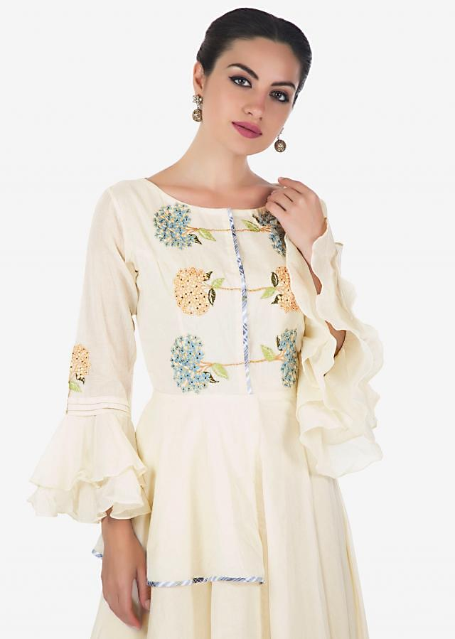 Ivory dress in cotton with resham embroidered bodice only on Kalki
