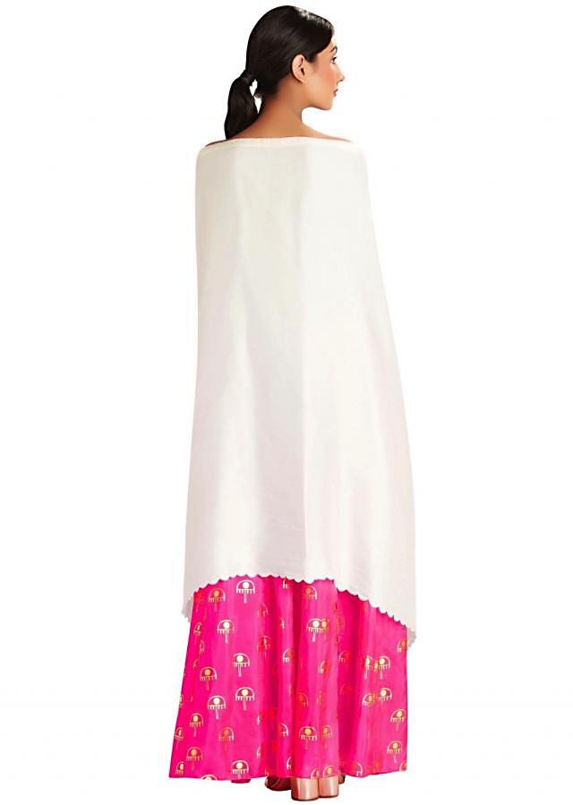 Ivory embroidered off shoulder cape top  by Masaba
