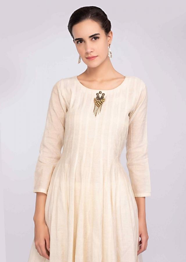 Ivory Suit In Jute Cotton With Matching Cotton Palazzo And Georgette Dupatta Online - Kalki Fashion