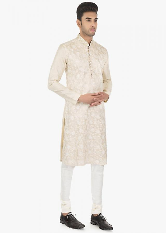Ivory silk Kurta and White F29chudidar set only on Kalki