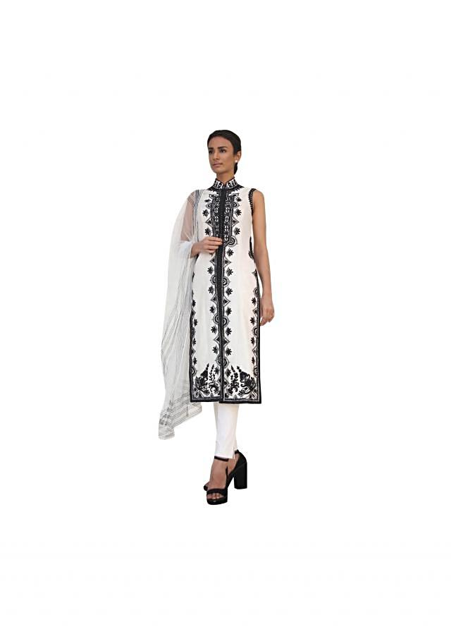 Ivory straight suit in resham embroidery