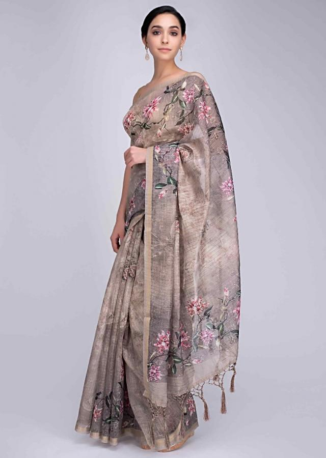 Ivory Saree In Tussar Silk With Water Print And Digital Print In Floral Motif Online - Kalki Fashion