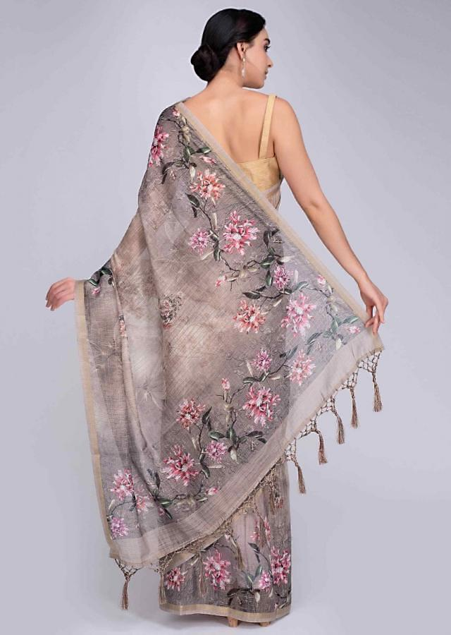Ivory tussar silk saree in water print and digital print in floral motif only on Kalki