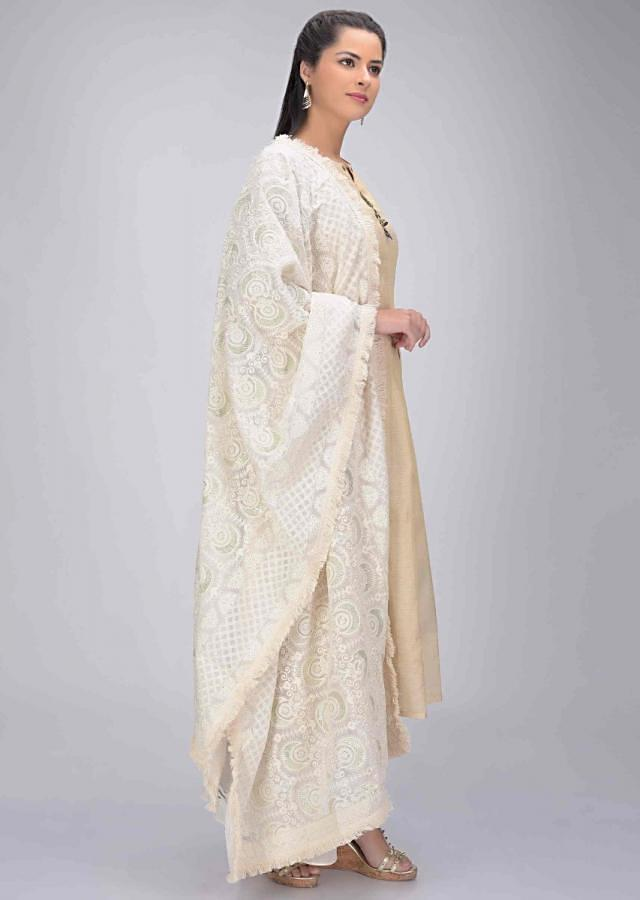 Ivory White Suit Set In Cotton With White Palazzo Pants And Dupatta Online - Kalki Fashion