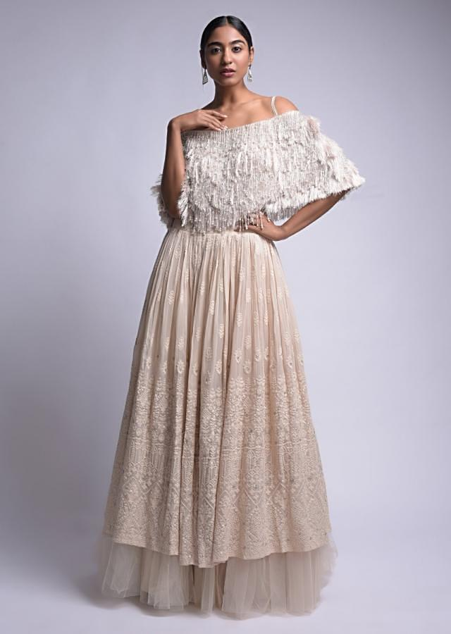 Ivory White Lehenga And Crop Top With Lucknowi Work And Fringe Details Online - Kalki Fashion