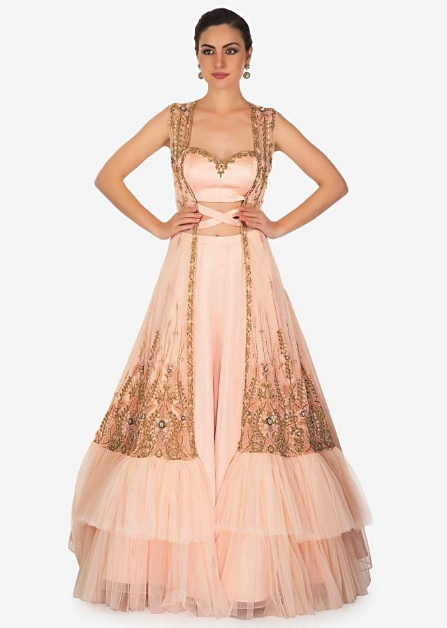 Jacket lehenga in english peach with  french knot and fancy tie up only on Kalki