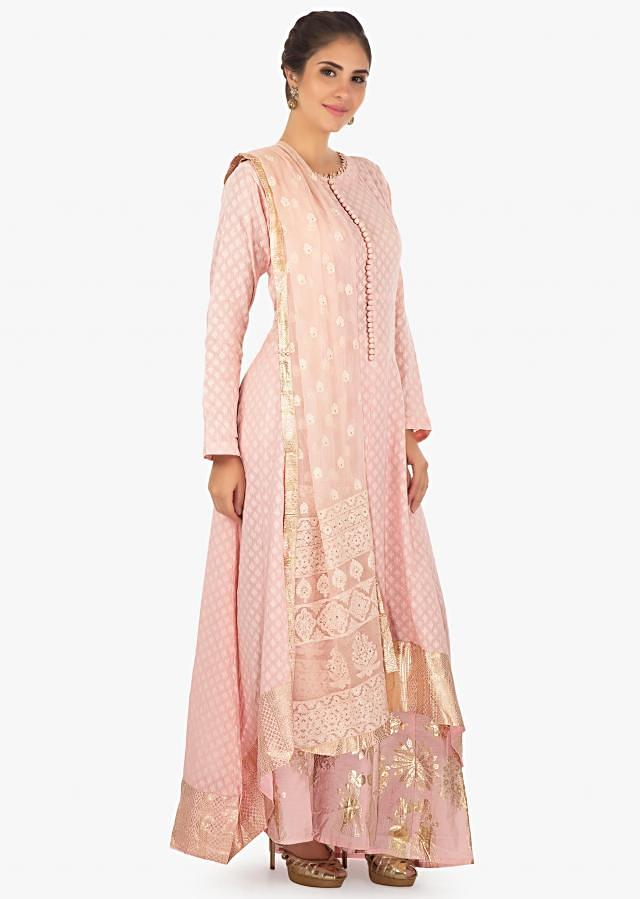 jacquard cotton pink kurti in foil printed hemline paired with a foil printed palazzo and lucknowi thread work dupatta only on Kalki