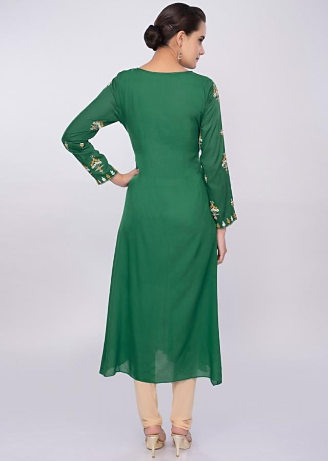 Jade green cotton kurti with floral butti only on Kalki